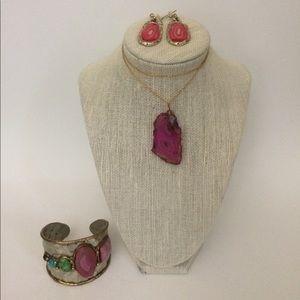 Jewelry - Hot Pink Geode Jewelry Bundle